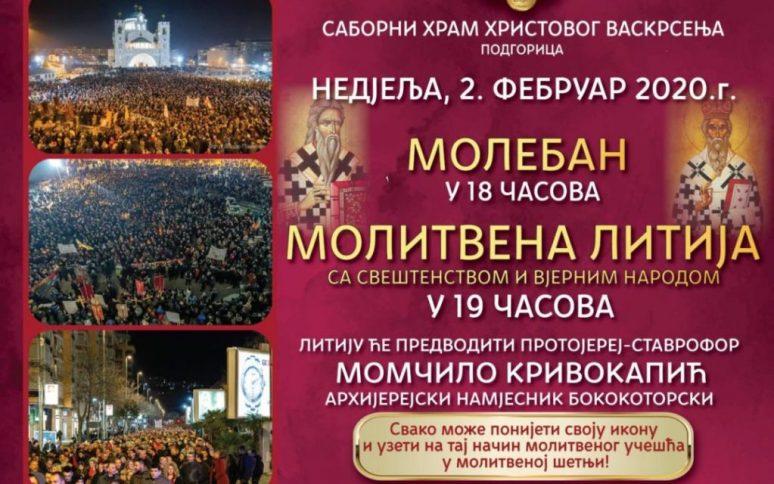 Plakat Najava 12 Litija Podgoricom Saobrni Hram
