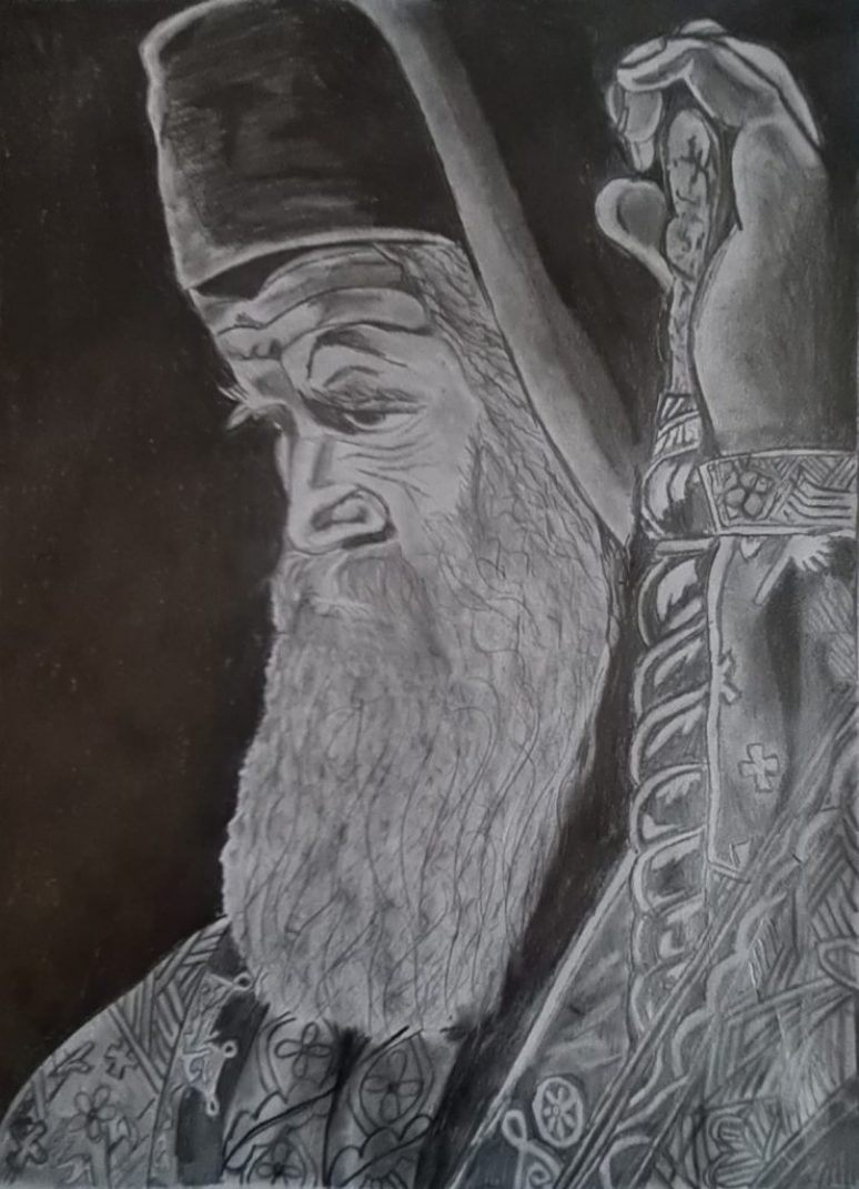 Портрет блаженопочившег Митрополита Амфилохија нацртала Катарина Ђукић